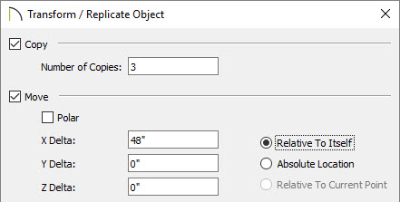 "Transform/Replicate Object dialog with 3 copies spaced 48"" apart"