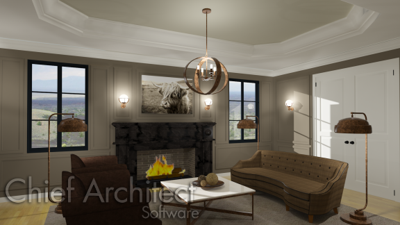 Trey and coffered ceilings created using the platform hole tool