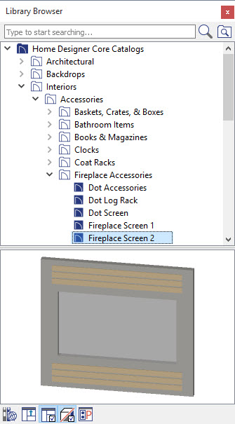 Fireplace Screen 2 in Library Browser