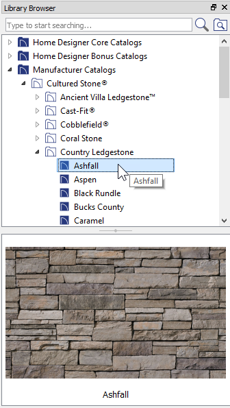 Sample from Cultured Stone Manufacturer Catalog in Library Browser