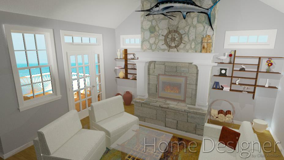 Fireplace with insert, hearth and mantel