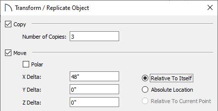 Transform/Replicate Object dialog