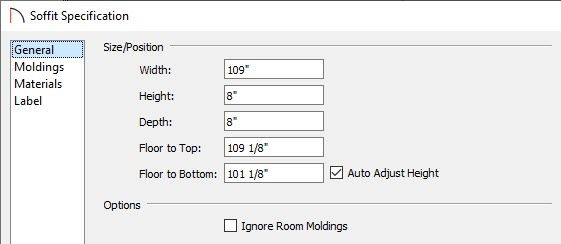 General panel of the Soffit Specification dialog