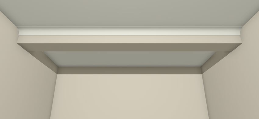 Camera view of a single soffit with molding