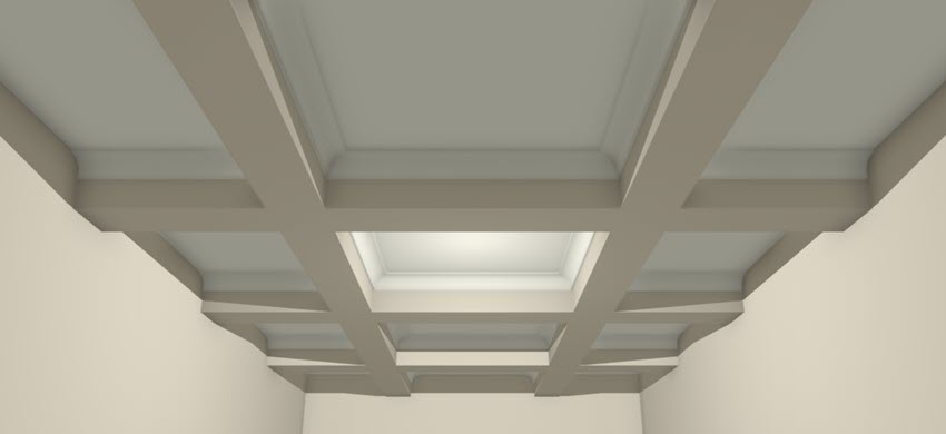 Camera view of a coffered ceiling