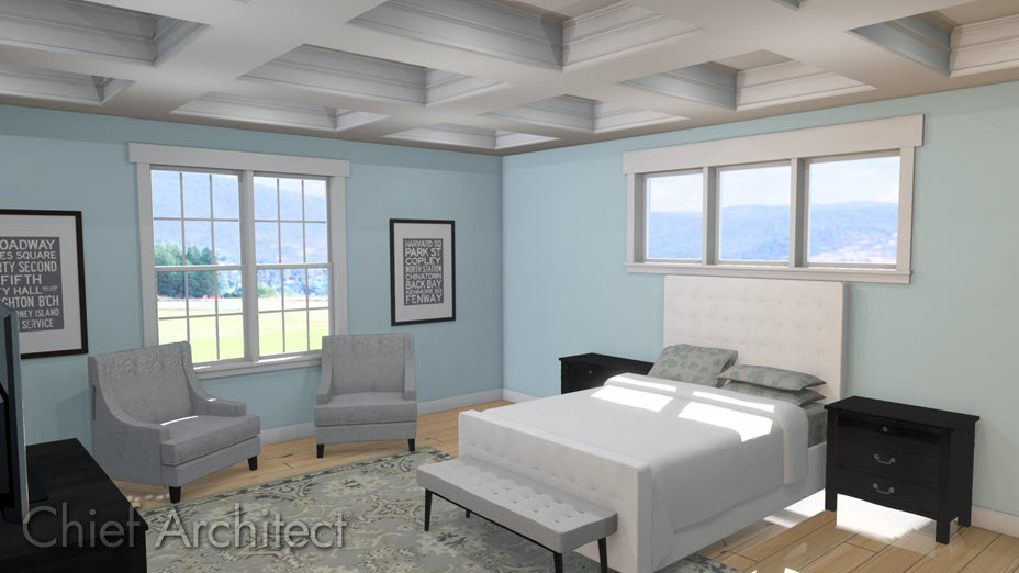 Coffered ceiling created using soffits