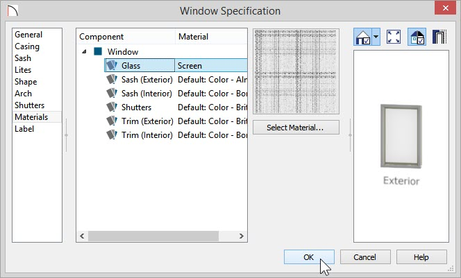 Window Specification dialog with Screen selected as the material used in the Glass category