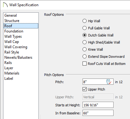 Roof panel of the wall specification dialog