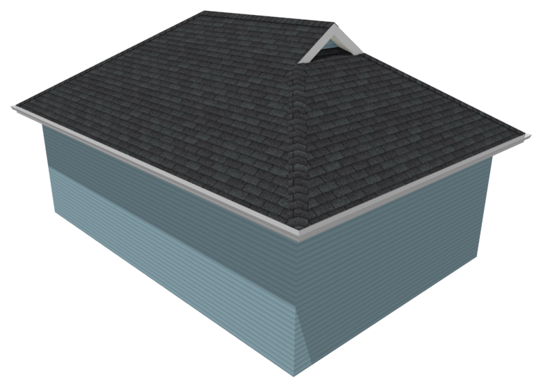 Perspective Full Overview of a manual dutch hip roof.