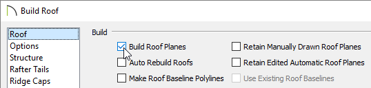 Roof panel of the Build Roof dialog.