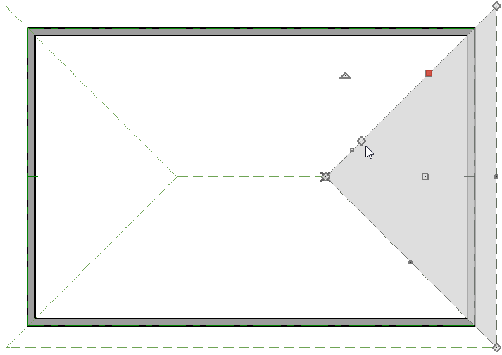 Cursor pointing to a break point placed along a roof plane edge