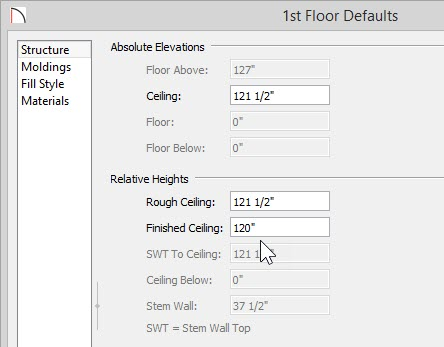 1st Floor Defaults dialog showing a Finished Ceiling height of 120""
