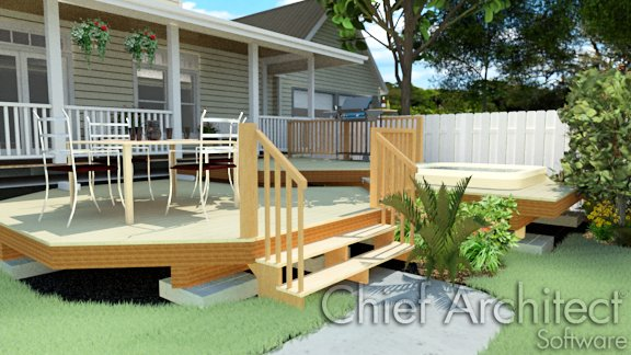 Image of a deck with stairs leading down to the terrain