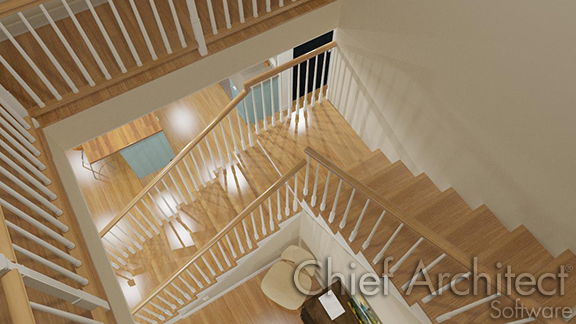 L shaped stairs with a connecting landing.