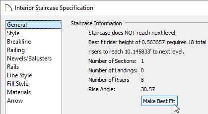 Staircase does not reach the next level shown in the dialog