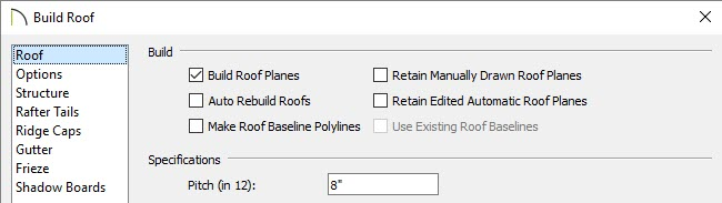 Build Roof Planes box is checked in the Build Roof dialog