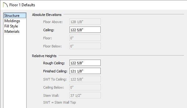 Specify a different ceiling height within the Floor Defaults dialog