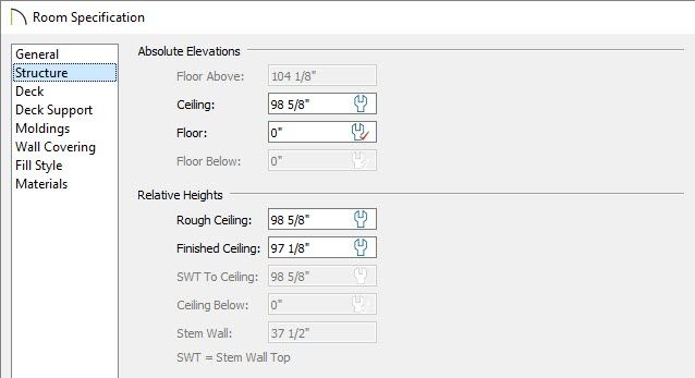 Specify a lower ceiling height within the Room Specification dialog