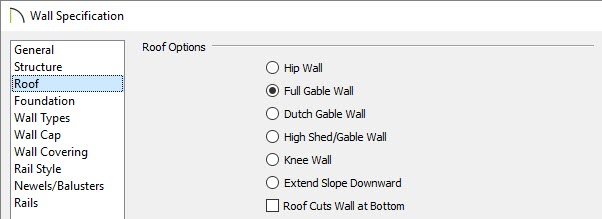 Full Gable Wall option selected on the Roof panel of the Wall Specification dialog