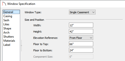 General panel of the Window Specification dialog