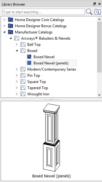 Library Browser showing Boxed Newel (panels) from Arcways Balusters & Newels Manufacturer Catalog