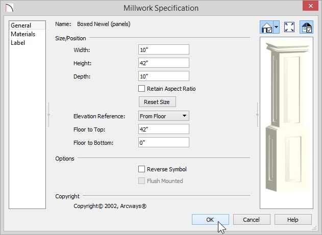 "Millwork Specification dialog showing Height of 42"" and 10"" for Width and Depth"