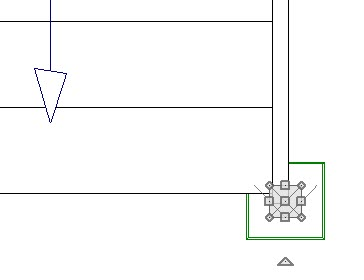 Floor plan view showing Finial 04 placed in plan and positioned over newel