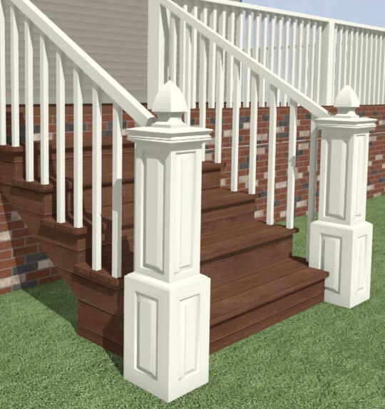 Camera view showing newel and finial copied to both sides of stairs