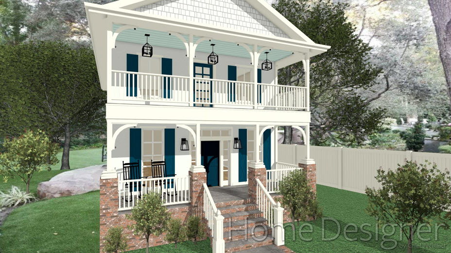 Camera view of front porch with masonry around bottom of posts, with caps and corbels added and upgraded newel with finial on stair railing