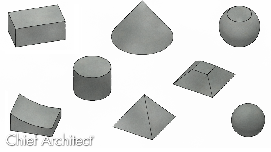 Several different 3D objects