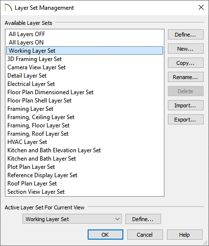 Layer Set Management dialog with the Working Layer Set selected