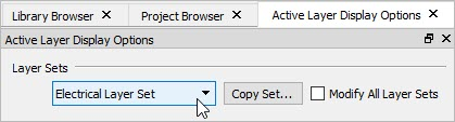Changing the layer set using the Layer Set Control in the Active Layer Display Options side window