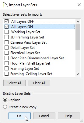 Import Layer Sets dialog with two layer sets set to replace existing layer sets within the plan they are being imported into