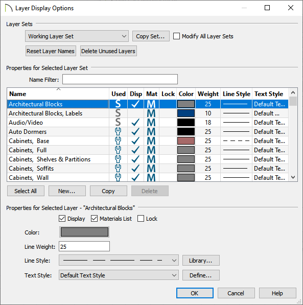 Layer Display Options dialog where layer properties can be modified