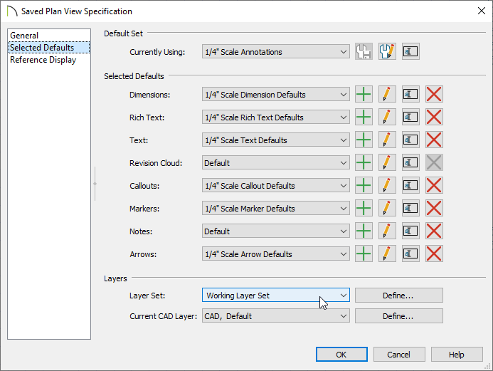 Selected Defaults panel of the Saved Plan View Specification dialog