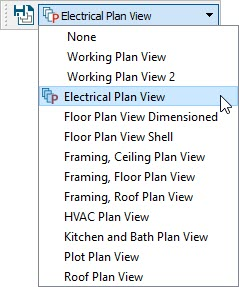 Electrical Plan View selected in the Saved Plan View Control drop-down