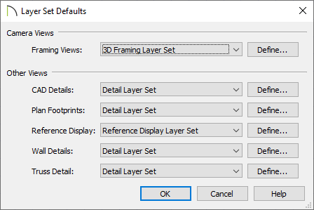 Layer Set Defaults dialog