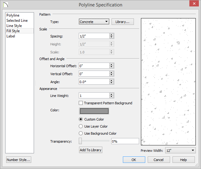 Polyline Specification dialog - Fill Style panel open with options selected