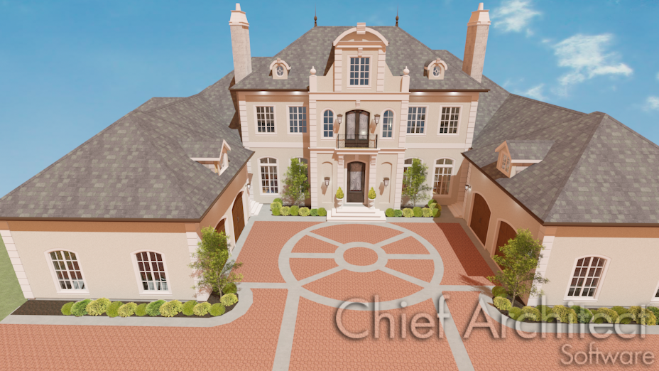 House with driveway made from custom paver material