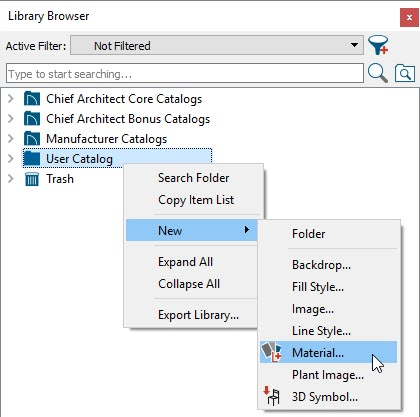 Library Browser with User Catalog > New > Material selected