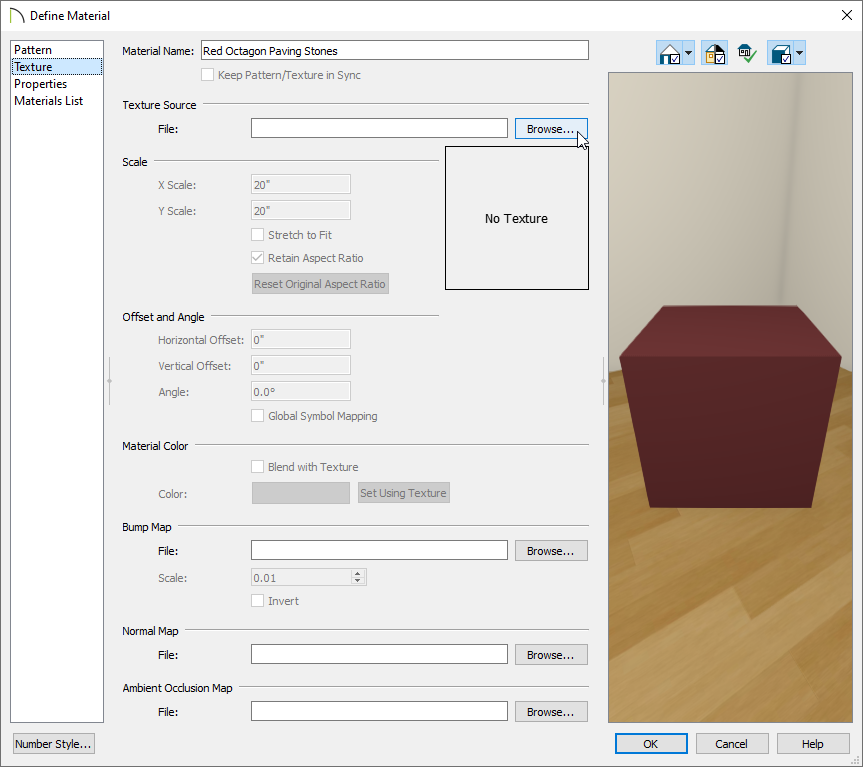 Define Material Dialog - Texture panel with Arrow on Browse button
