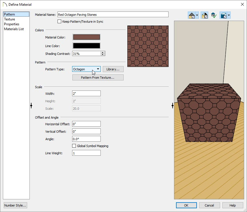Define Material Dialog - Pattern panel with Octagon set as Pattern Type