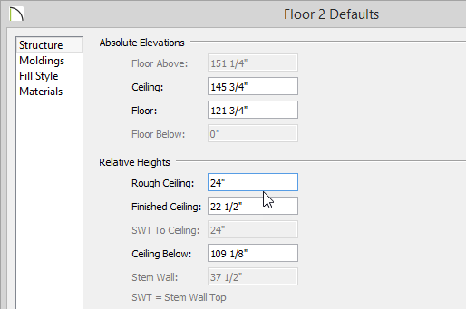 Floor 2 Defaults dialog with Rough Ceiling set to 24 inches
