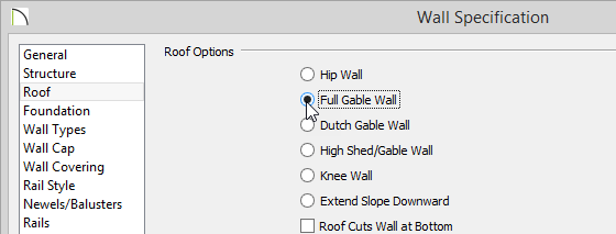 Wall Specification Dialog with Full Gable Wall set on the Roof panel