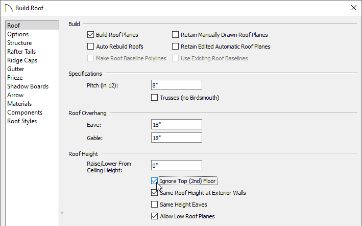 Ignore Top Floor is selected in the Build Roof dialog