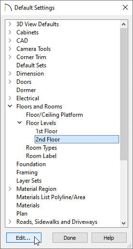 Editing the Default Settings for Floor 2