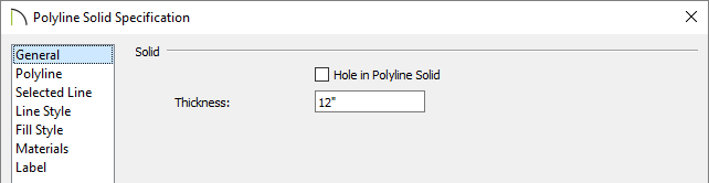 Polyline solid specification