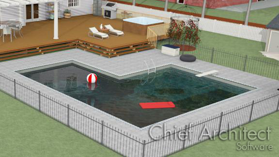 deck and in-ground swimming pool