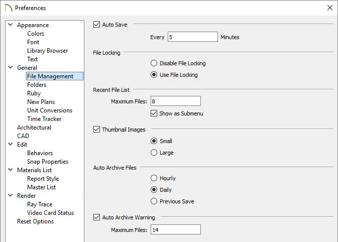 File management panel of the Preferences dialog