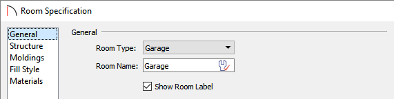 Change the room type to Garage in the Room Specification dialog
